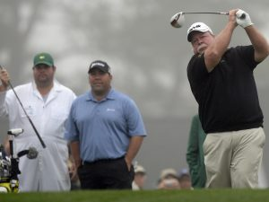 Craig Stadler(R) and his son Kevin Stadler(C) from the US hit tee shots during a practice round April 7, 2014 at Augusta National Golf Club in Augusta, Georgia as they prepare for the 2014 Masters Golf Tournament.   AFP PHOTO / Timothy A. CLARY        (Photo credit should read TIMOTHY A. CLARY/AFP/Getty Images)